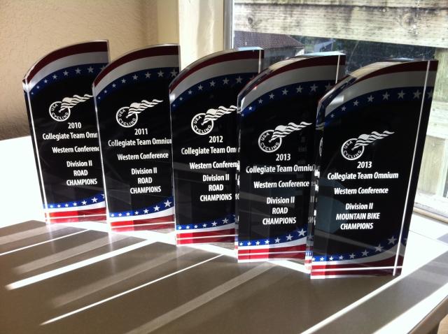 A few HSU WCCC Championship Trophies