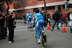 Ag2r warms up on the course.