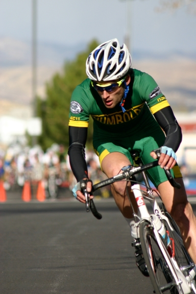Luke Ramseth rides off the front of the pack at the May 2012 conference championships in Reno, Nev.